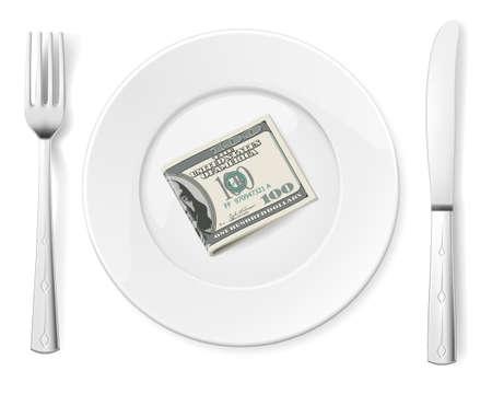 �conomie verte: Dollars sur plaque de nourriture avec une fourchette et un couteau