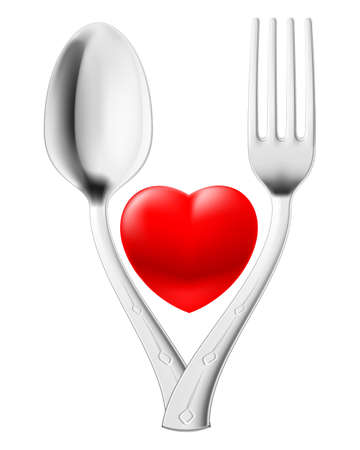 Spoon and fork couple red heart. Illustration on white Vector