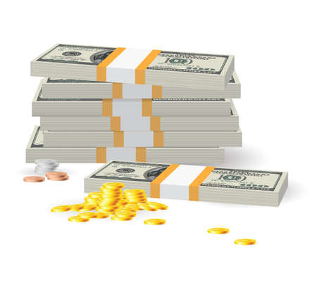 coin stack: Pile of coins on dollar banknotes. Illustration on white Illustration