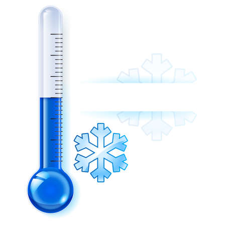 hot and cold: Thermometer by seasons. Winter. Illustration on white
