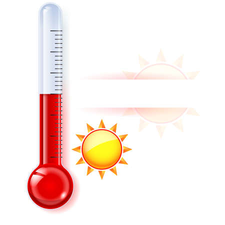 hotness: Thermometer by seasons. Summer. Illustration on white