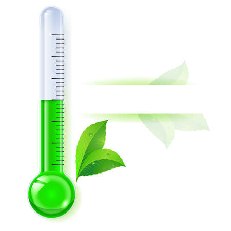 extreme science: Thermometer by seasons. Spring. Illustration on white