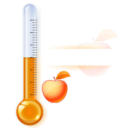 extreme science: Thermometer by seasons. Autumn. Illustration on white