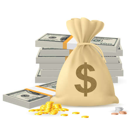 white paper bag: Piles of money in the form of Cash and Gold coins, with Money sack
