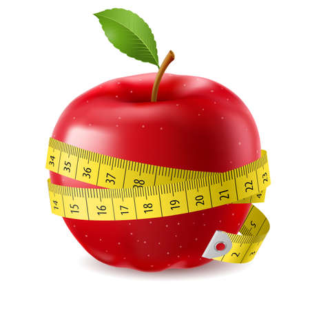 Red apple and measure tape. Illustration on white background Ilustração