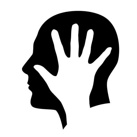 male face profile: The man in the head with hand. Illustration on white background
