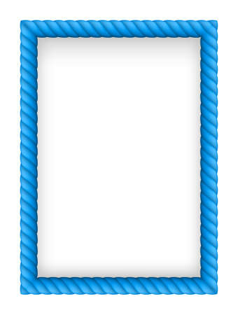 rope border: Blue Rope Border. Illustration on white background