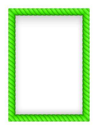 rope border: Green Rope Border. Illustration on white background