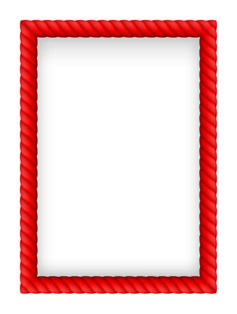 border cartoon: Red Rope Border. Illustration on white background Illustration