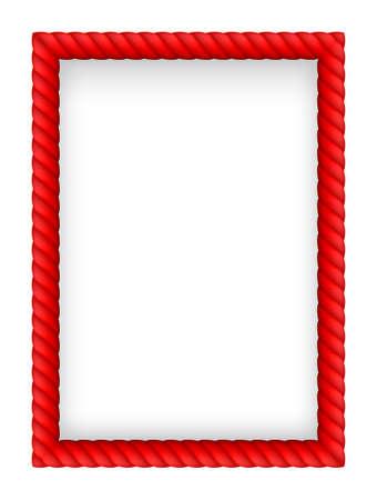 nylon string: Red Rope Border. Illustration on white background Illustration