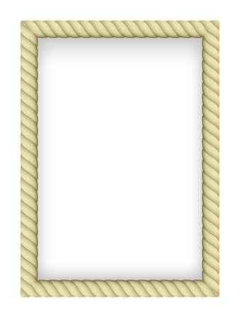 rope border: Yellow Rope Border. Illustration on white background Illustration