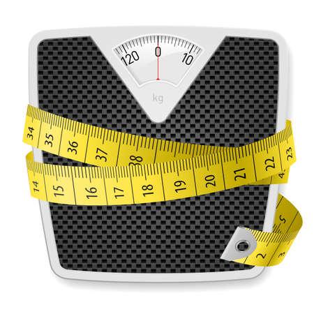metro de medir: Pesos y cinta m�trica. Ilustraci�n sobre fondo blanco