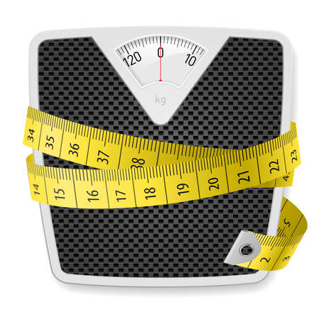 obesidad: Pesos y cinta m�trica. Ilustraci�n sobre fondo blanco