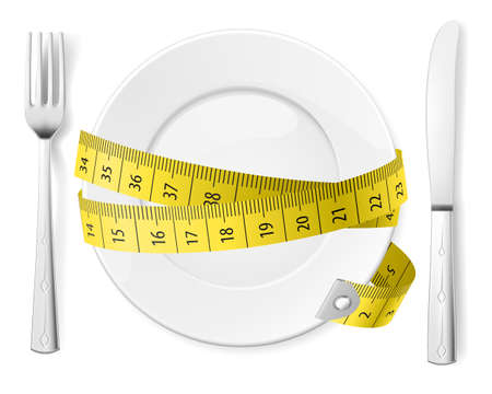 white plate: Diet concept. Plate with knife, fork and measure tape