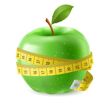 масса: Зеленое яблоко и рулетка. Иллюстрация на белом фоне