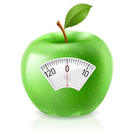 verlies: Groene Appel Met Schaal voor een gewicht van Machine Stock Illustratie