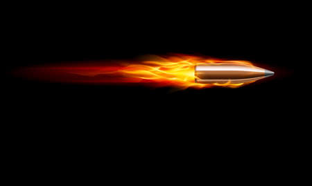 Moving Red Fiery Gun Bullet Shot. Illustration on black