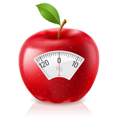 weight loss success: Red Apple With Scale for a Weighing Machine Illustration