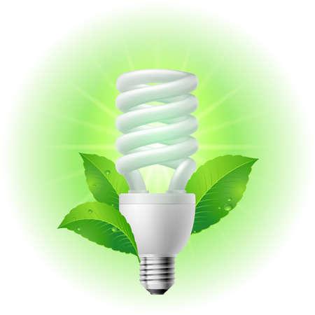 energy conservation: Energy saving lamp. Illustration on white background.