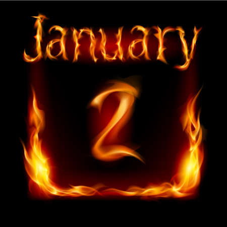 Second January in Calendar of Fire. Icon on black background Vector