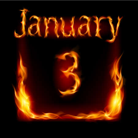 urgently: Third January in Calendar of Fire. Icon on black background