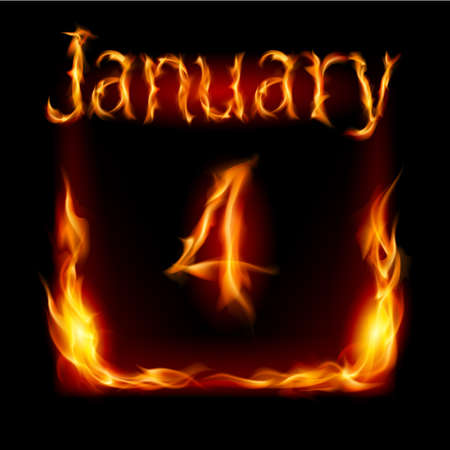 urgently: Fourth January in Calendar of Fire. Icon on black background Illustration