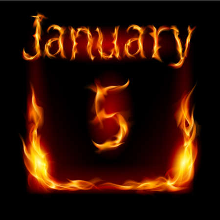 urgently: Fifth January in Calendar of Fire. Icon on black background Illustration