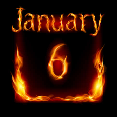 urgently: Sixth January in Calendar of Fire. Icon on black background