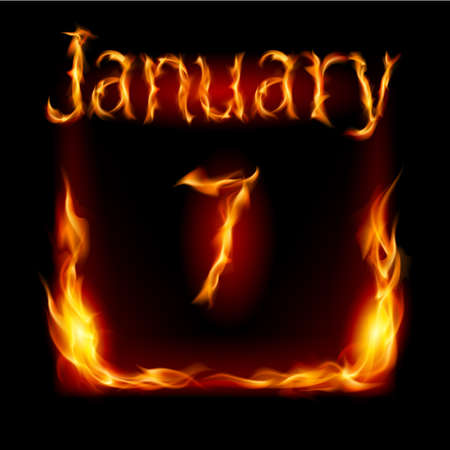 urgently: Seventh January in Calendar of Fire. Icon on black background
