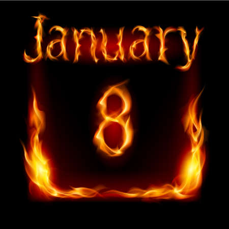 urgently: Eighth January in Calendar of Fire. Icon on black background