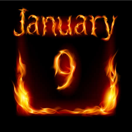 urgently: Ninth January in Calendar of Fire. Icon on black background Illustration
