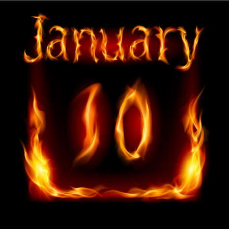 urgently: Tenth January in Calendar of Fire. Icon on black background