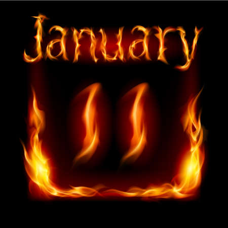 urgently: Eleventh January in Calendar of Fire. Icon on black background Illustration