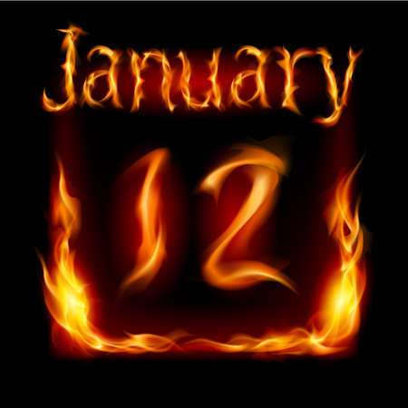 urgently: Twelfth January in Calendar of Fire. Icon on black background