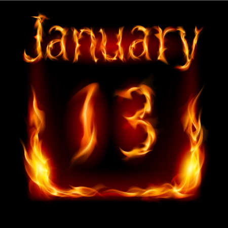 urgently: Thirteenth January in Calendar of Fire. Icon on black background Illustration