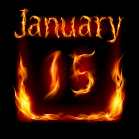closing: Fifteenth January in Calendar of Fire. Icon on black background