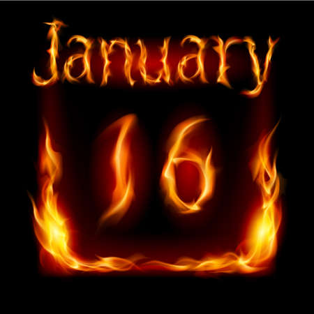 Sixteenth January in Calendar of Fire. Icon on black background Vector