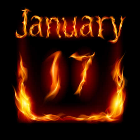 seventeenth: Seventeenth January in Calendar of Fire. Icon on black background Illustration