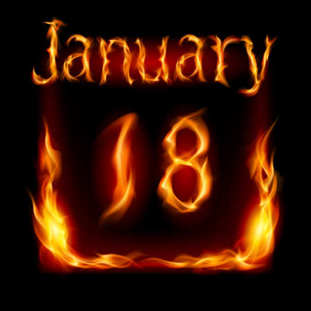 urgently: Eighteenth January in Calendar of Fire. Icon on black background