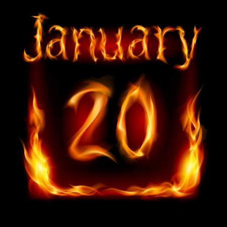 twentieth: Twentieth January in Calendar of Fire. Icon on black background