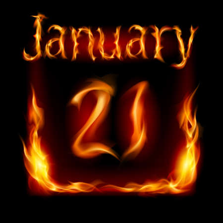 urgently: Twenty-first January in Calendar of Fire. Icon on black background
