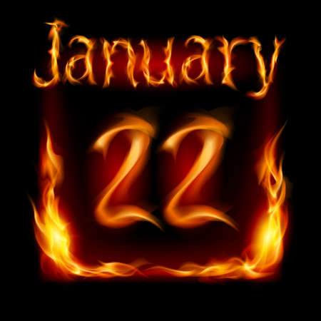 urgently: Twenty-second January in Calendar of Fire. Icon on black background