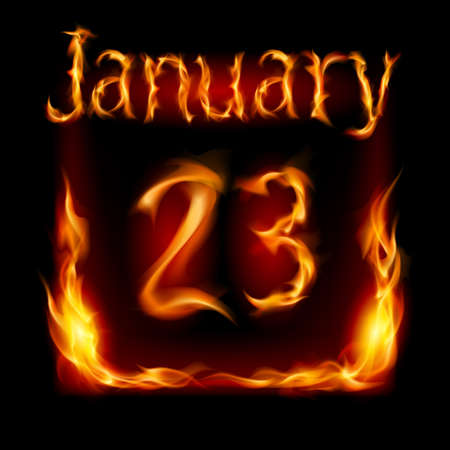 urgently: Twenty-third January in Calendar of Fire. Icon on black background