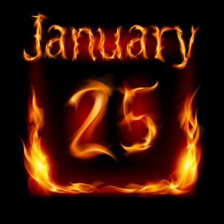 urgently: Twenty-fifth January in Calendar of Fire. Icon on black background Illustration