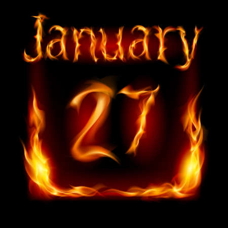 urgently: Twenty-seventh January in Calendar of Fire icon on black background