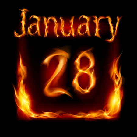 urgently: Twenty-eighth January in Calendar of Fire. Icon on black background