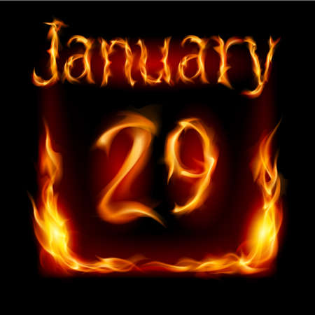 urgently: Twenty-ninth January in Calendar of Fire. Icon on black background