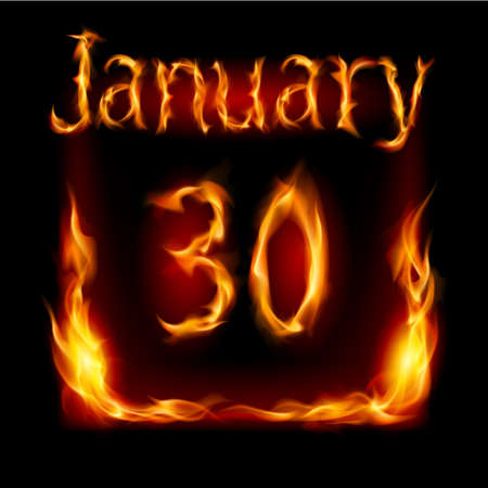 urgently: Thirtieth January in Calendar of Fire. Icon on black background Illustration