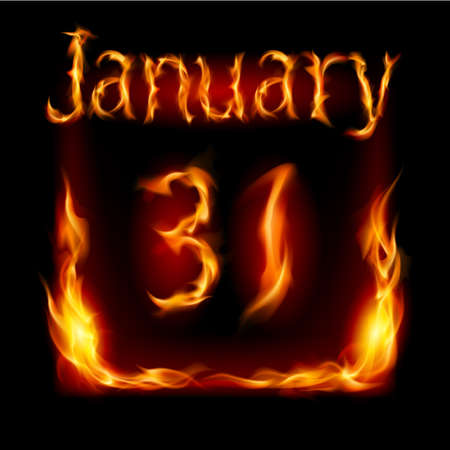 cutoff: Thirty-first January in Calendar of Fire. Icon on black background Illustration
