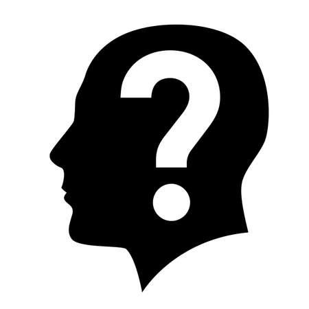 punto interrogativo: Testa umana con il simbolo del punto interrogativo su bianco Vettoriali